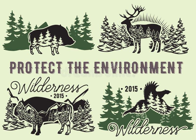 Ensemble d'emblèmes avec les animaux sauvages, forêt, montagnes illustration libre de droits
