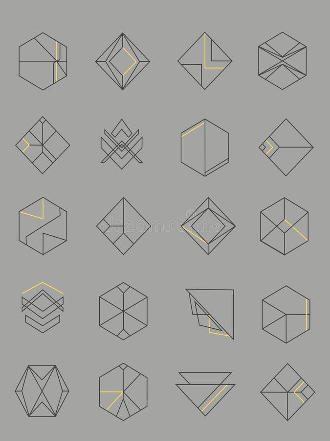 Ensemble d'emblèmes d'abrégé sur ensemble images stock