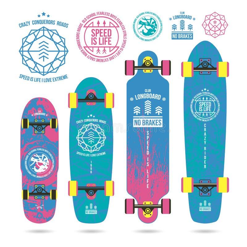 Ensemble d'emblèmes d'ensemble sur le longboard illustration de vecteur