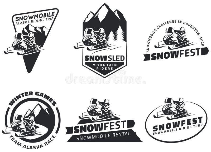 Ensemble d'emblèmes, d'insignes et d'icônes de motoneige d'hiver illustration de vecteur