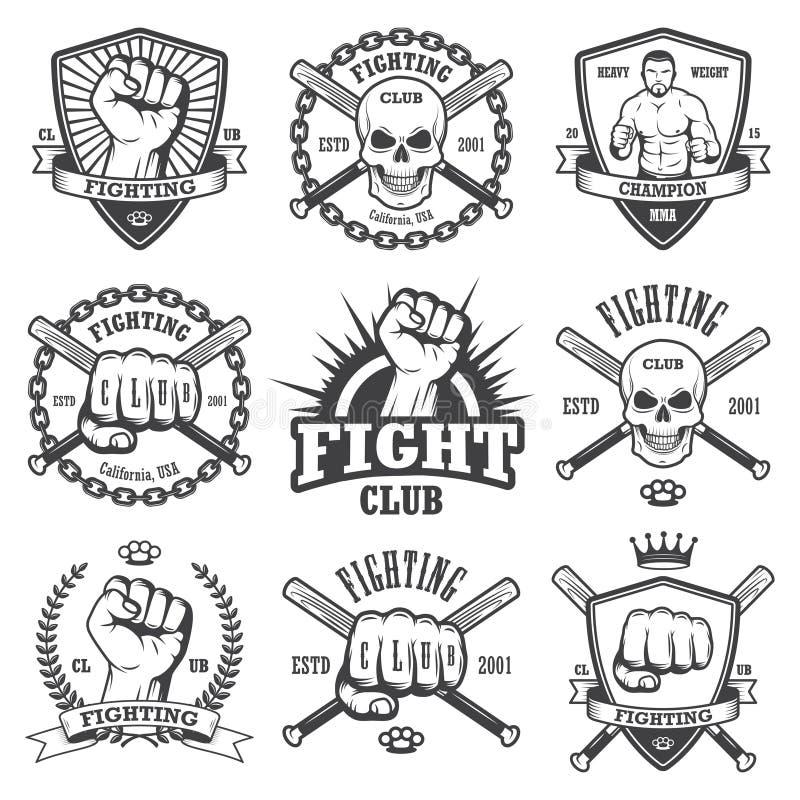 Ensemble d'emblèmes de combat frais de club illustration libre de droits