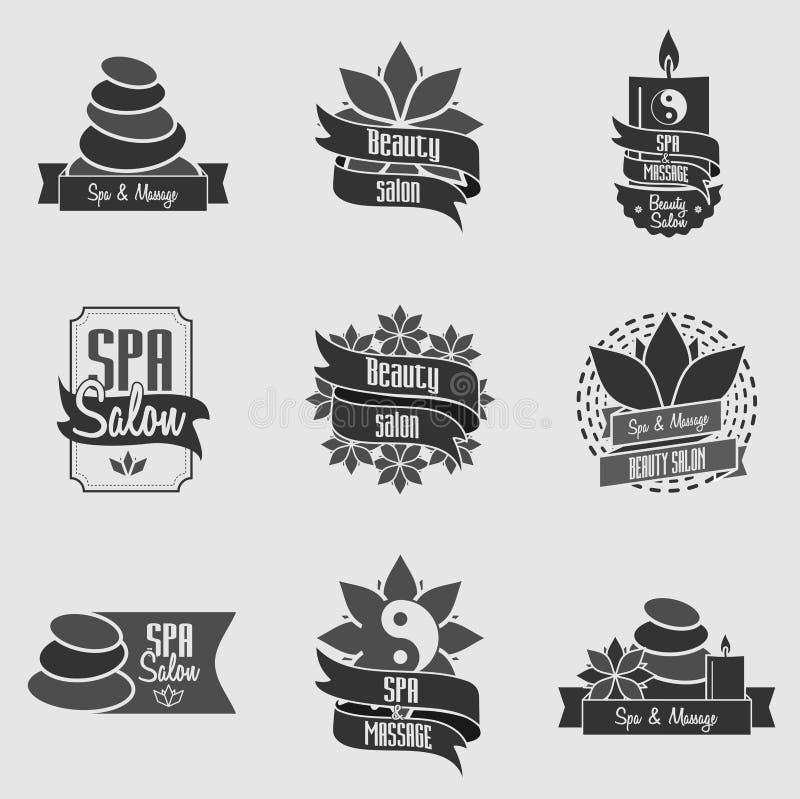Ensemble d'emblèmes de station thermale et de massage de beauté, d'insignes, de logo et de labels illustration de vecteur