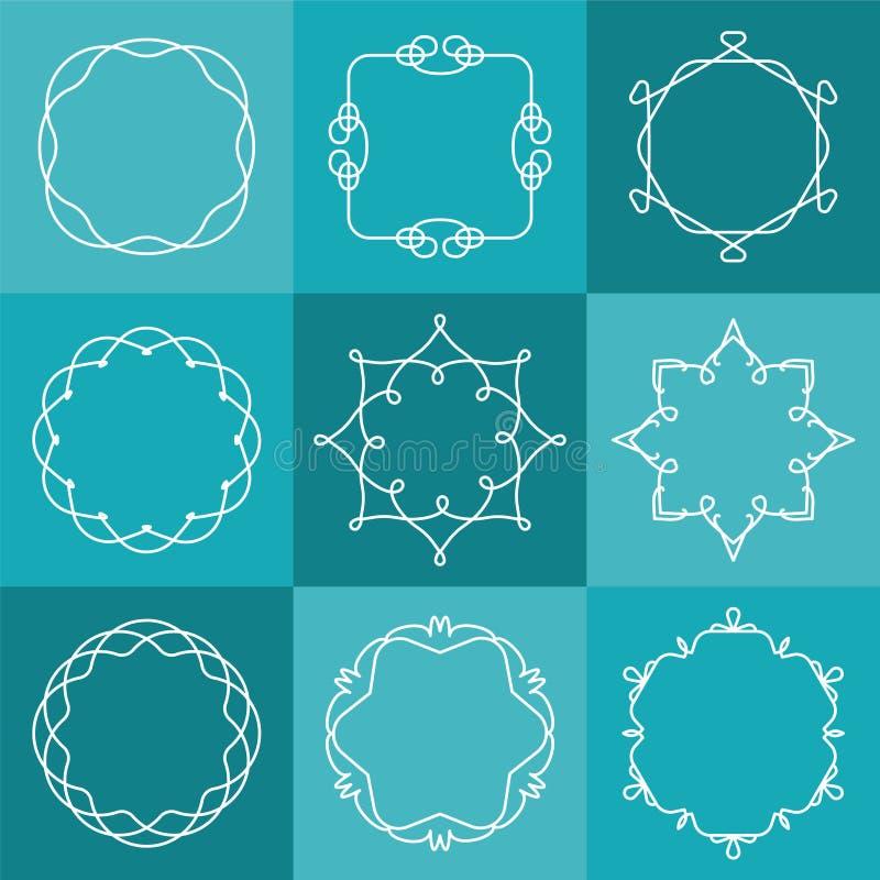 Ensemble d'emblèmes et d'insignes d'ensemble de vecteur dans le style de hippie illustration libre de droits