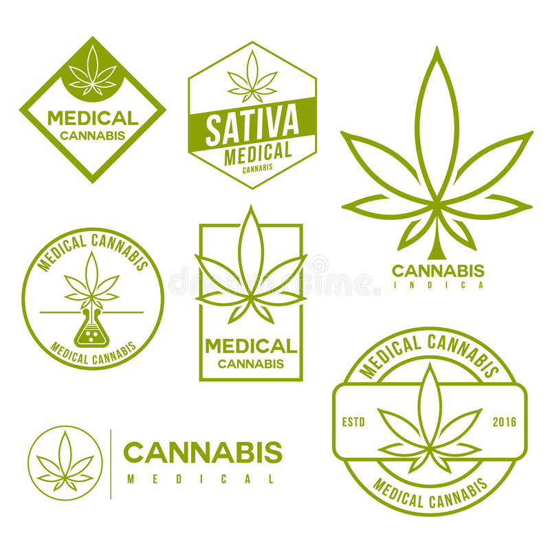 Ensemble d'emblèmes médicaux de cannabis de marijuana illustration libre de droits