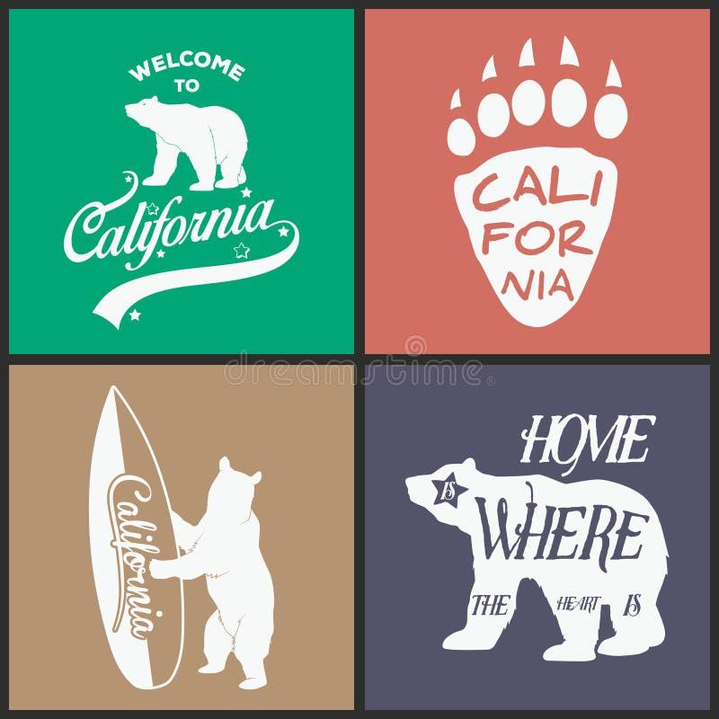 Ensemble d'emblèmes monochromes de la Californie de vintage illustration de vecteur