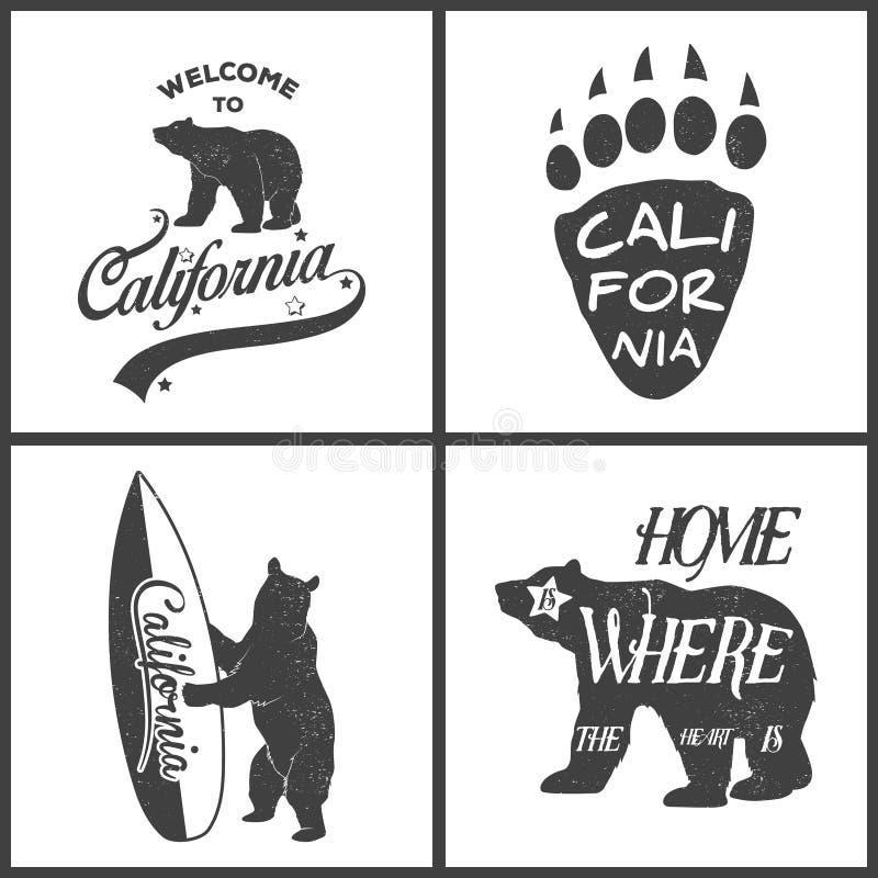 Ensemble d'emblèmes monochromes de la Californie de vintage et illustration libre de droits
