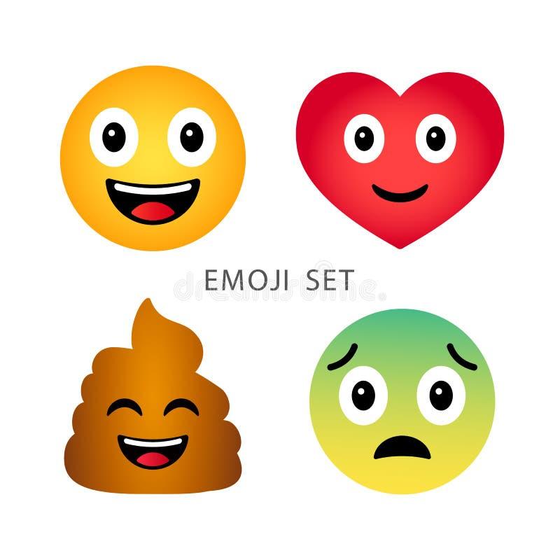 Ensemble d'Emoji Émoticônes émotives de coeur, de dunette, heureuses et tristes de bande dessinée drôle mignonne illustration de vecteur