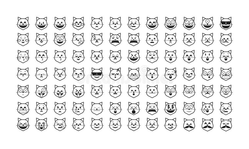 Ensemble d 39 emoji de chat noir illustration de vecteur - Dessin avec emoticone ...
