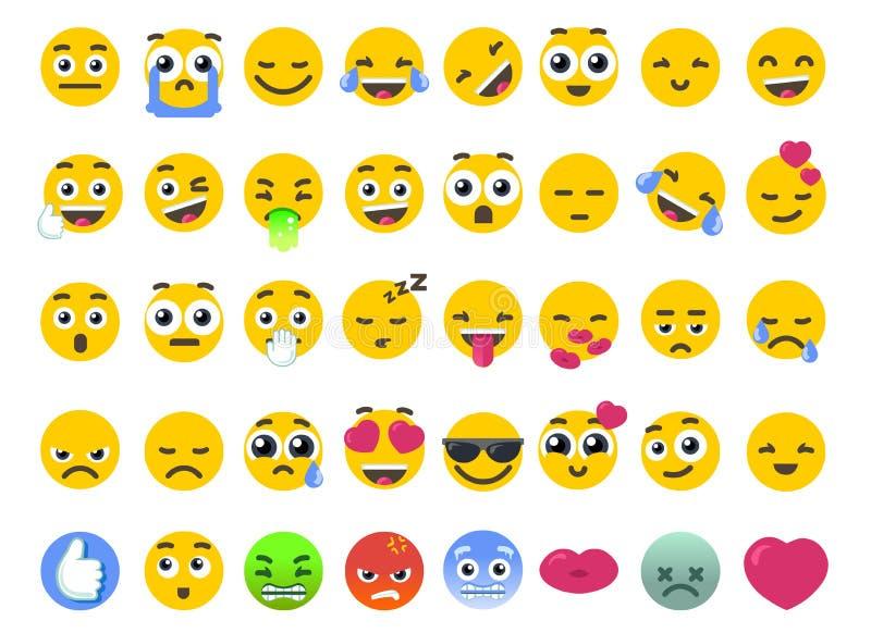 Ensemble d'Emoji de d'isolement sur les autocollants blancs d'émoticônes de vecteur illustration stock
