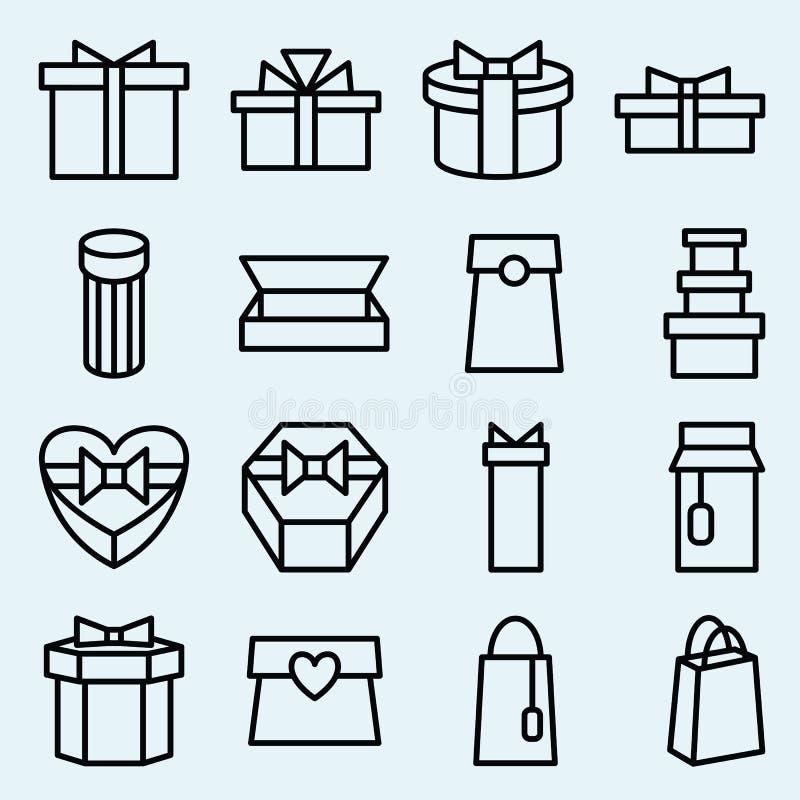 Ensemble d'empaquetage linéaire et de boîte-cadeau d'icônes illustration de vecteur