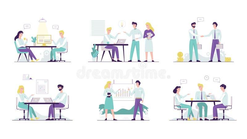 Ensemble d'employé de bureau Ramassage de gens de bussiness illustration de vecteur
