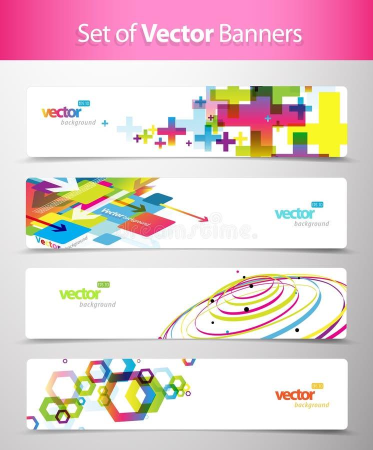 Ensemble d'en-têtes colorés abstraits de Web. illustration libre de droits