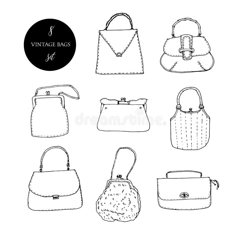 Ensemble d'encre de sacs, d'embrayages et de bourses de vintage Illustration tirée par la main de vecteur Élégant et à la mode illustration de vecteur