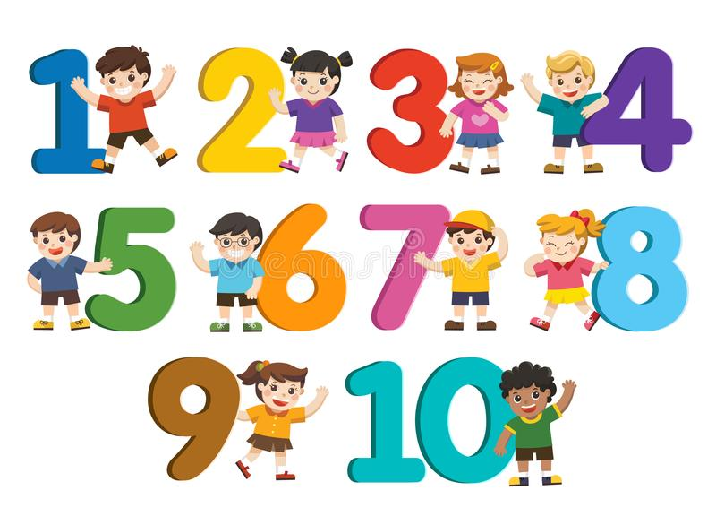 Ensemble d'enfants d'école et de nombre coloré formés illustration de vecteur