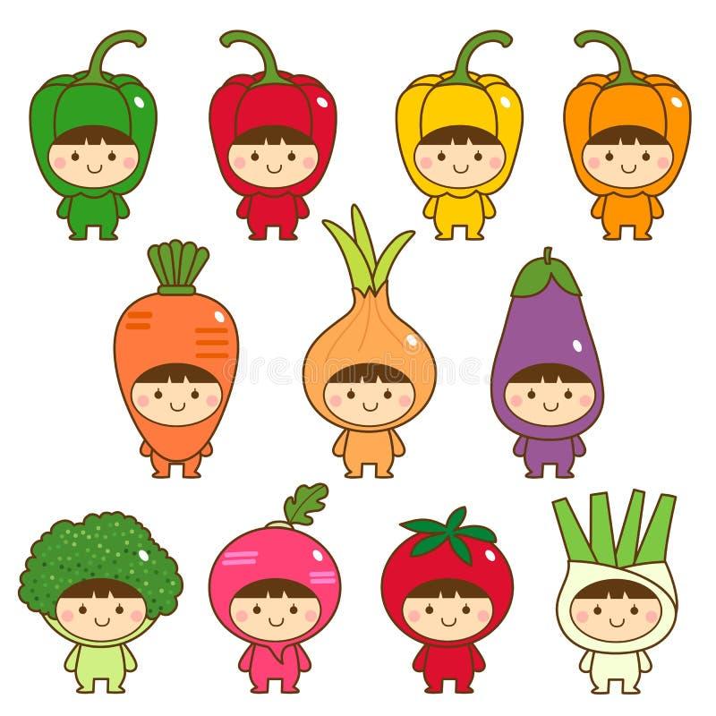 Ensemble d'enfants dans des costumes mignons de légumes illustration stock