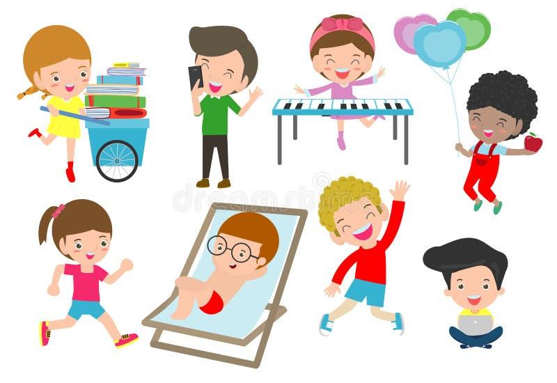 Ensemble d'enfants divers Collection heureuse de bande dessinée de caractère d'enfant activité dans le jardin d'enfants, livres d illustration stock