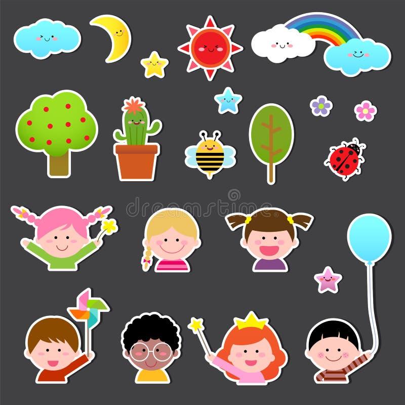 Ensemble d'enfants et d'élément mignon de nature illustration libre de droits