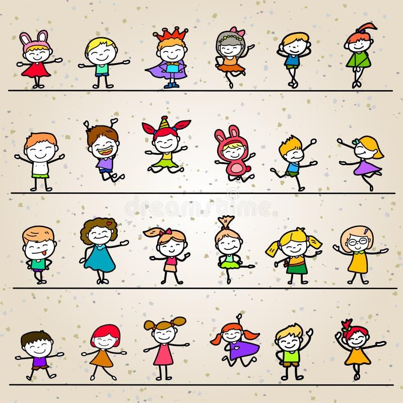 Ensemble d'enfants heureux de bande dessinée de dessin de main de coloration illustration libre de droits