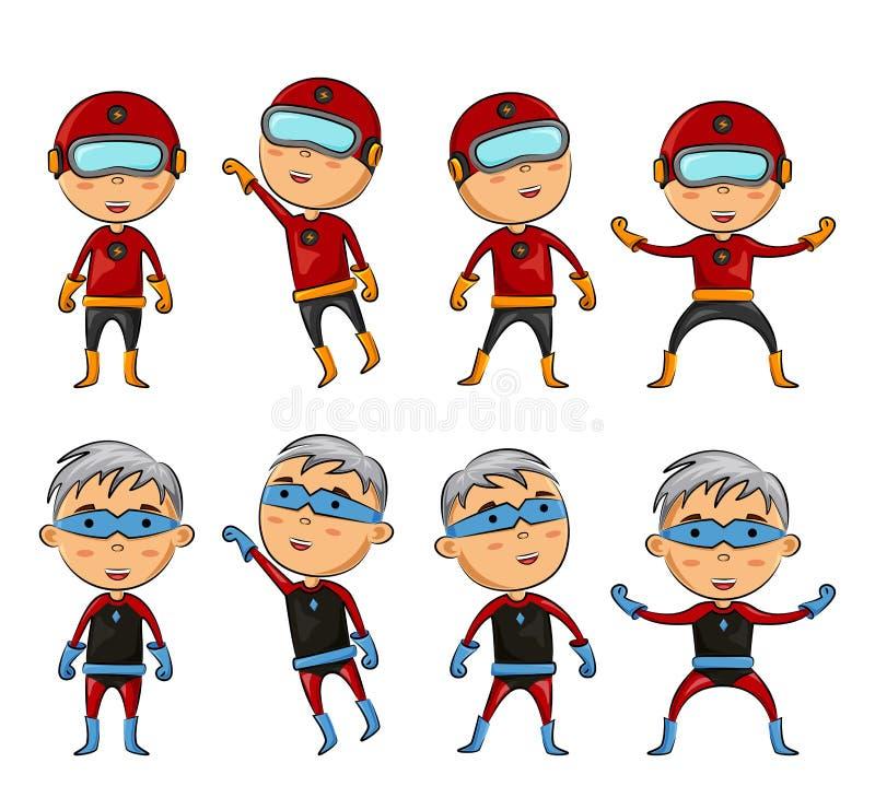Ensemble d'enfants utilisant des costumes de super héros avec la pose différente illustration de vecteur