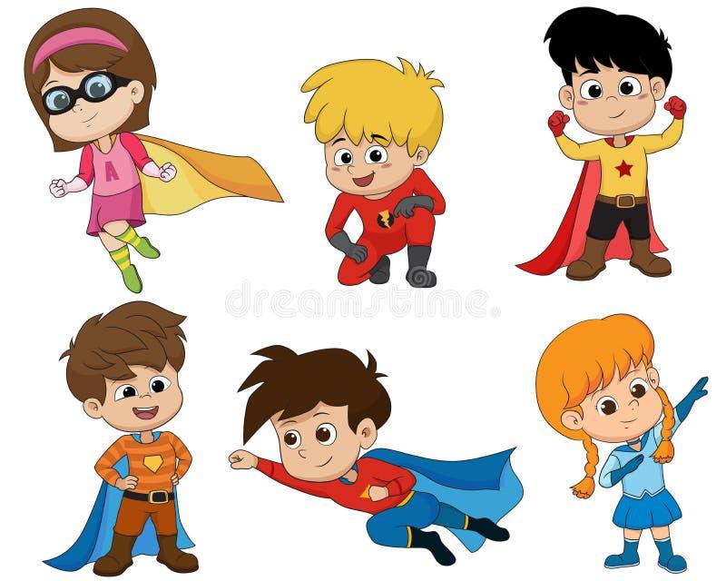Ensemble d'enfants utilisant des costumes de super héros avec la pose différente Vecto illustration de vecteur