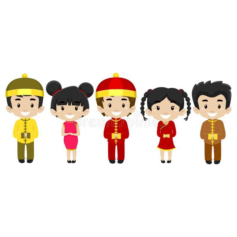 Ensemble d'enfants utilisant le costume chinois illustration de vecteur