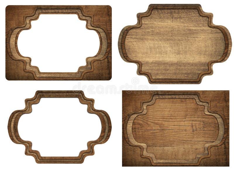 Ensemble d'enseigne en bois brune, plats, planches et image libre de droits