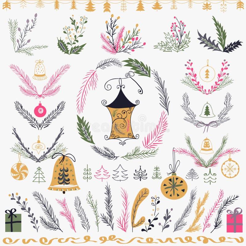 Ensemble d'ensemble floral tiré par la main de Noël Concevez les éléments, la décoration, le laurier, la guirlande et les vacance illustration de vecteur