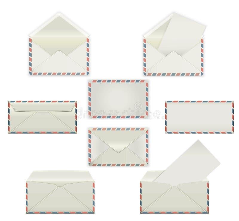 Ensemble d'enveloppes blanches vides Maquettes de calibre dans quatre vues, avant et dos, ouvert et fermé, scellé et imprimé avec illustration de vecteur