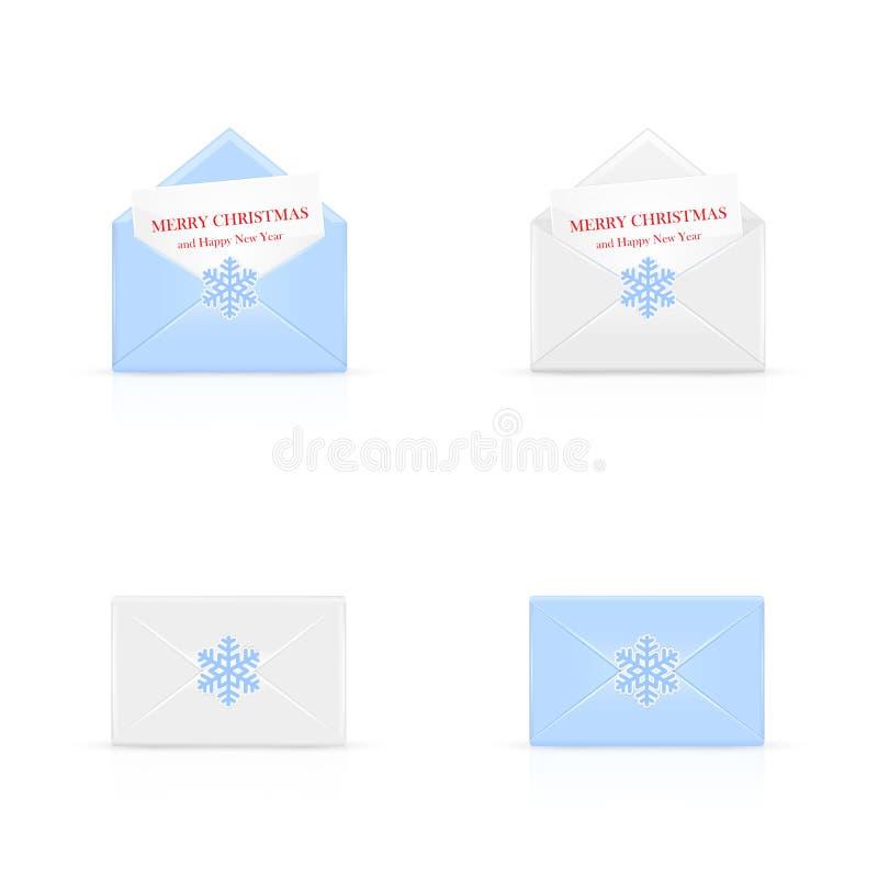 Ensemble d'enveloppes de Noël avec le flocon de neige illustration stock
