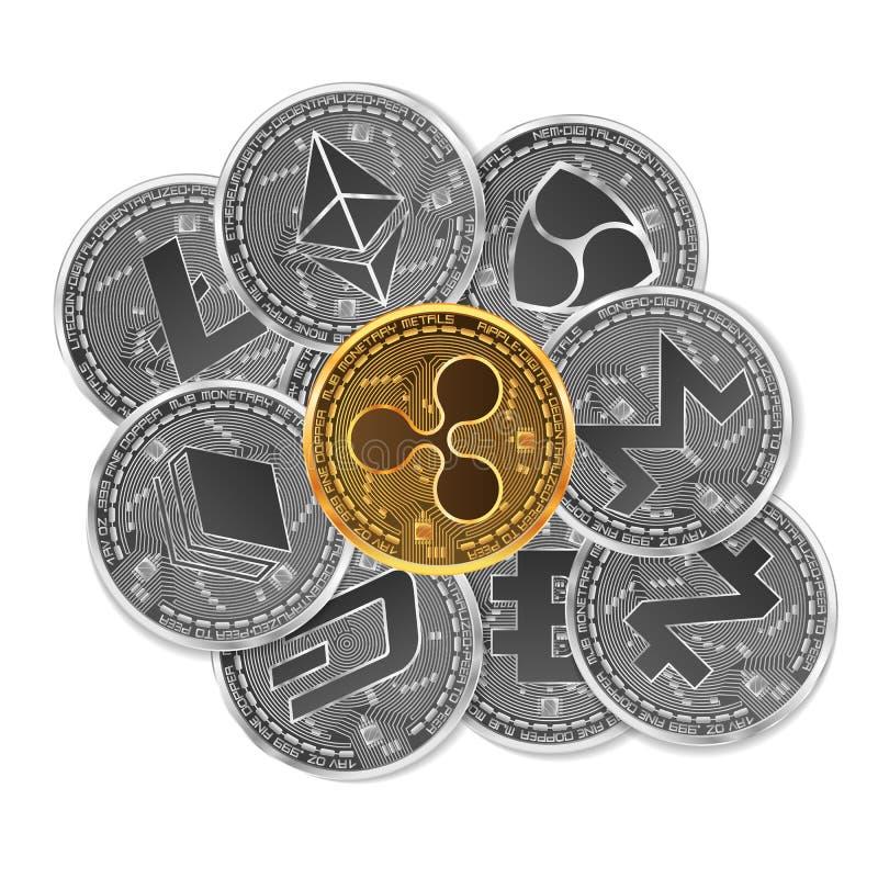 Ensemble d'or et de cryptos devises argentées illustration stock