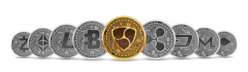 Ensemble d'or et de cryptos devises argentées illustration de vecteur