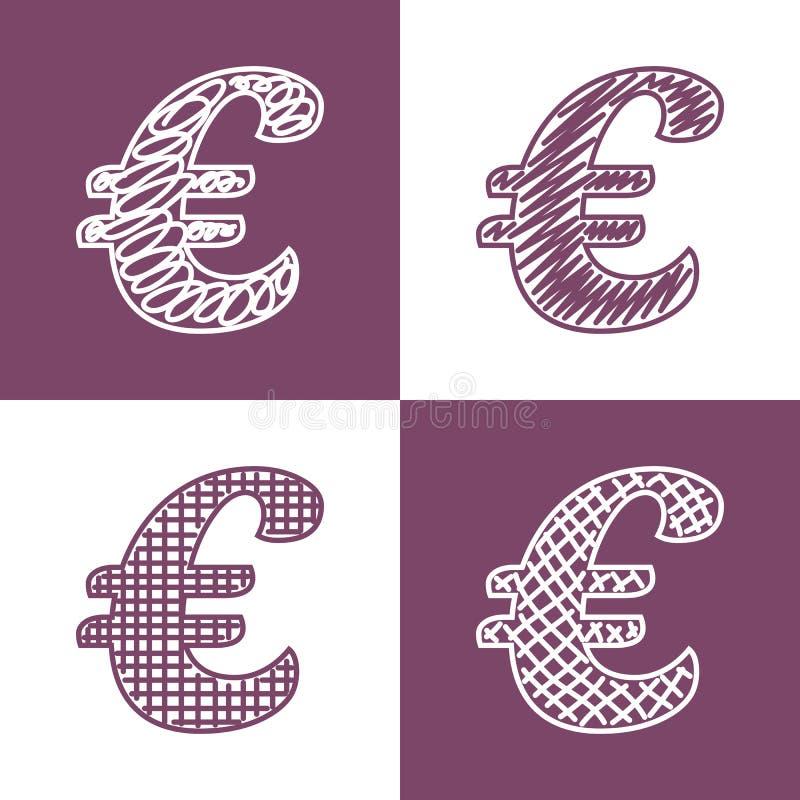 Ensemble d'euros tirés par la main illustration libre de droits