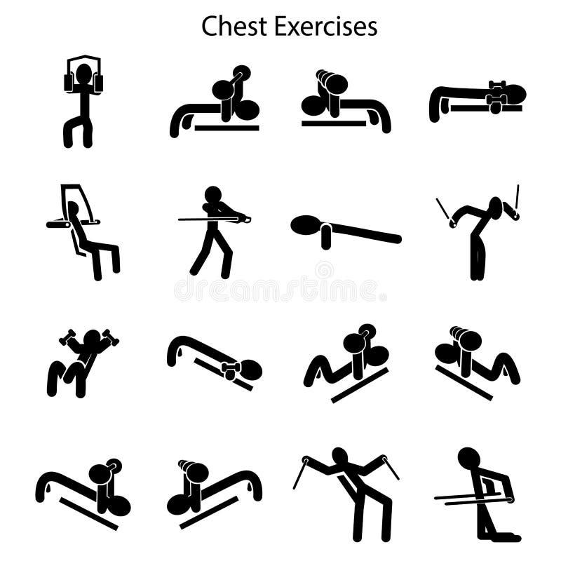Ensemble d'exercices pour former vos seins illustration libre de droits
