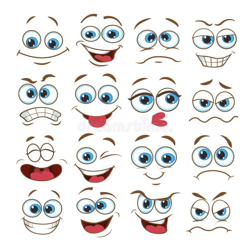 Ensemble d'expression de visage bande dessin?e d'?motic?ne d'illustration de vecteur illustration libre de droits