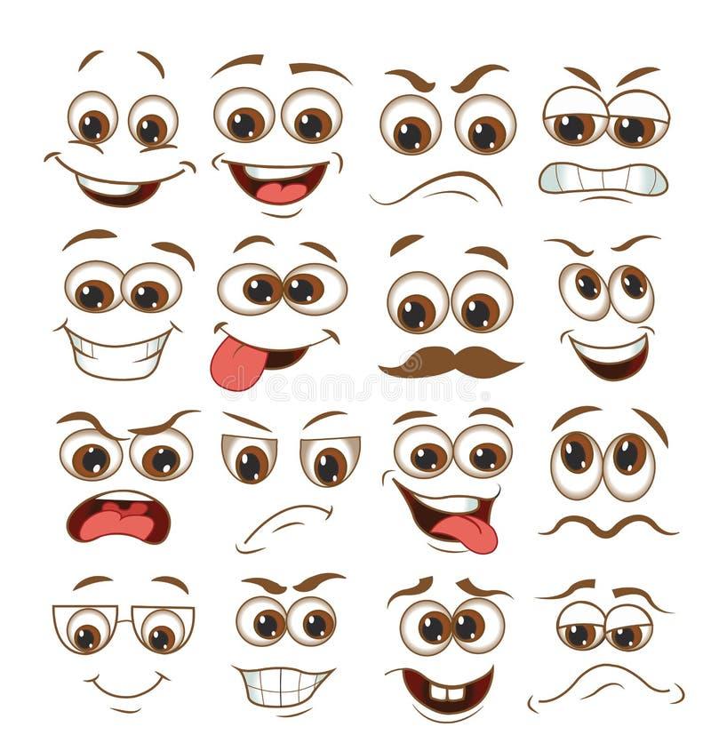 Ensemble d'expression de visage bande dessin?e d'?motic?ne d'illustration de vecteur illustration stock