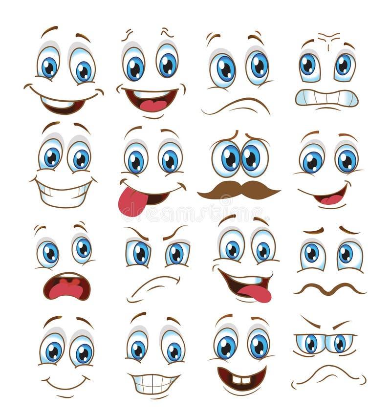 Ensemble d'expression de visage bande dessin?e d'?motic?ne d'illustration de vecteur illustration de vecteur