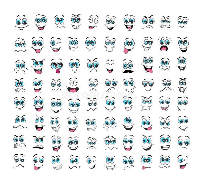 Ensemble d'expressions de visage de bande dessinée illustration de vecteur