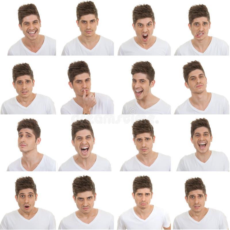 Ensemble d'expressions du visage masculines images stock