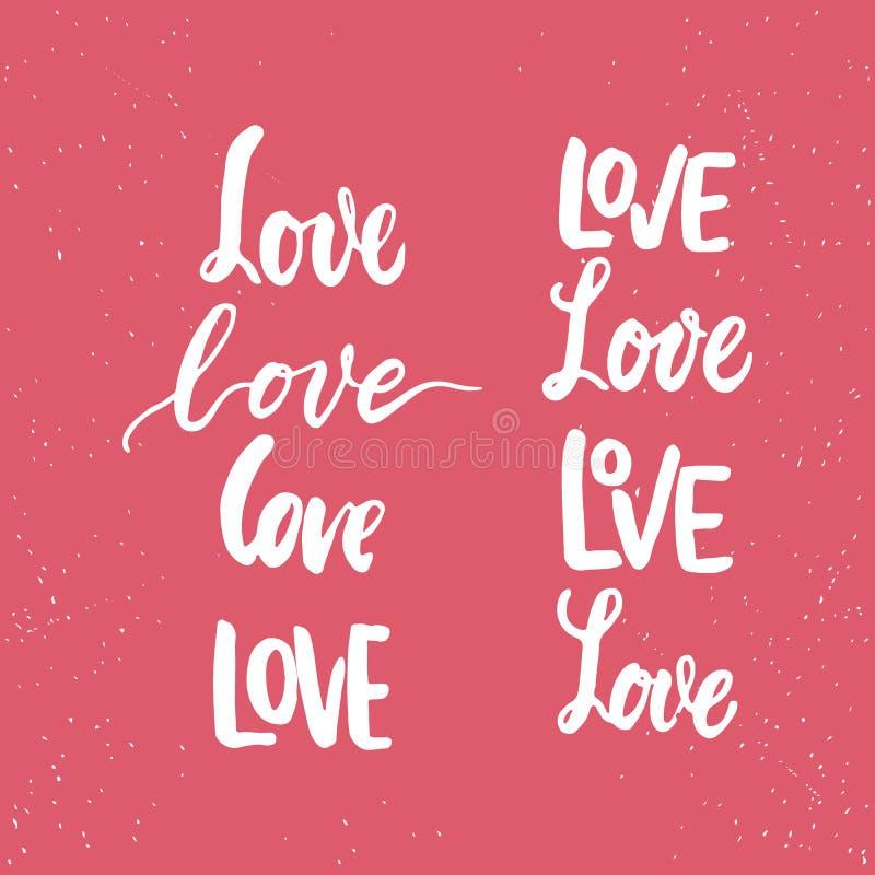 Ensemble d'expressions tirées par la main de lettrage de jour de valentines de saint au sujet de l'amour La photo recouvre des si illustration stock