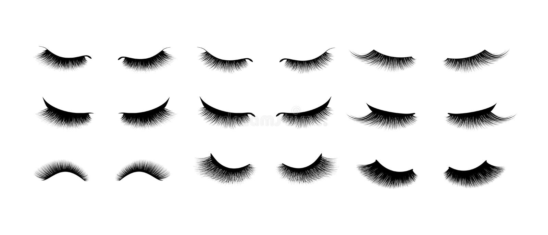 Ensemble d'extension de cil Beaux longs cils noirs Oeil fermé Cils faux de beauté Effet naturel de mascara illustration libre de droits
