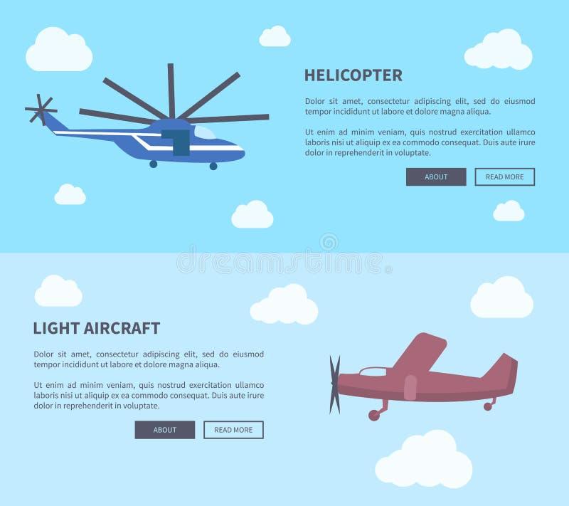 Ensemble d'hélicoptère et d'avions légers de bannières illustration de vecteur