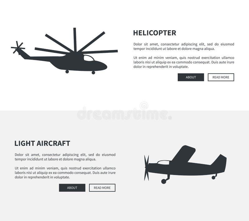 Ensemble d'hélicoptère et d'avions légers de bannières noires illustration de vecteur