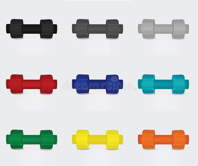 Ensemble d'haltère neuf couleurs illustration de vecteur