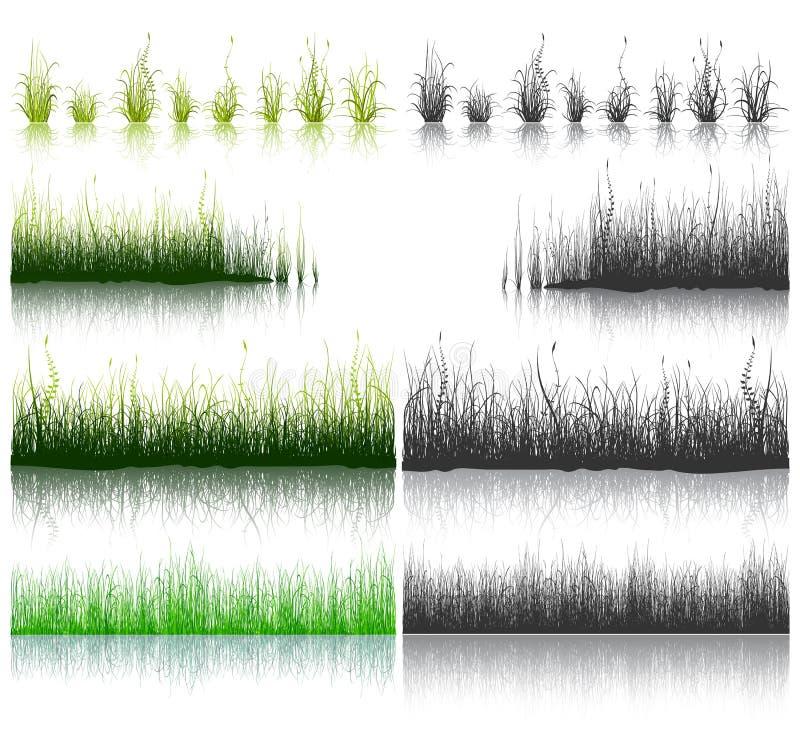 Ensemble d'herbe verte et noire sur le blanc illustration de vecteur