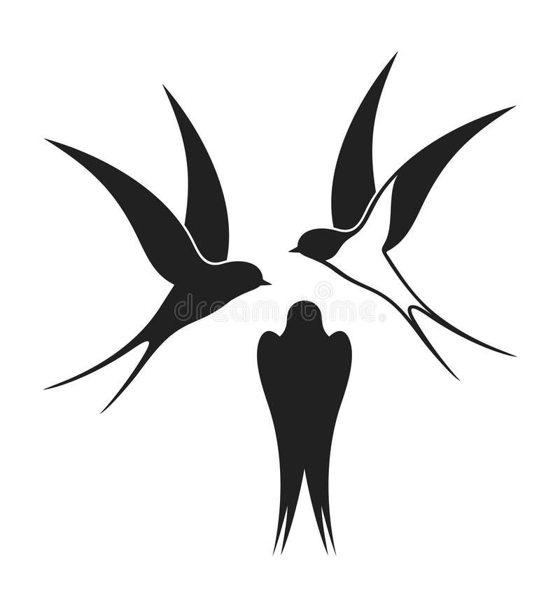 Ensemble d'hirondelle Hirondelle d'isolement sur le fond blanc illustration stock