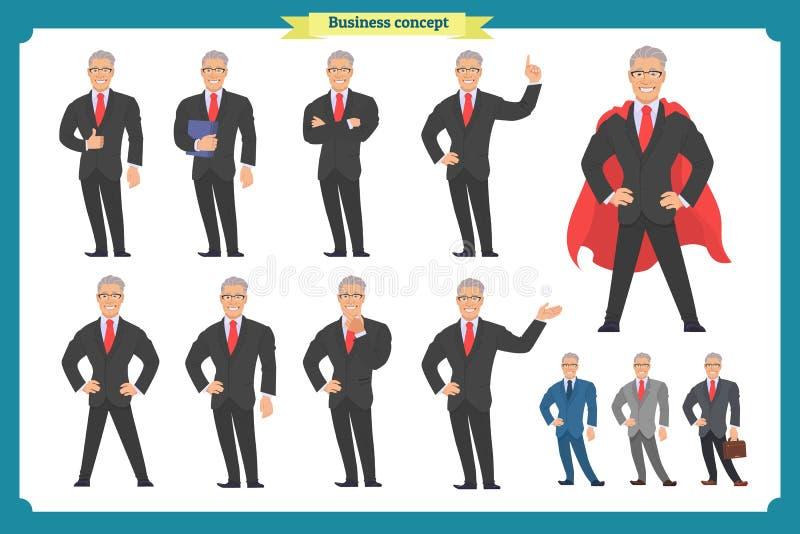 Ensemble d'homme d'affaires présentant dans la diverse action Homme heureux dans le costume illustration de vecteur