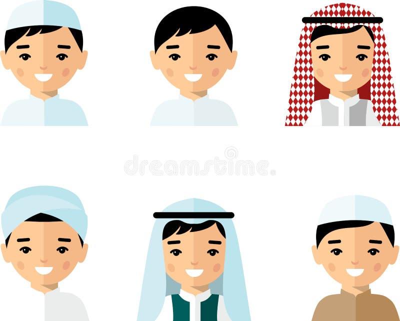 Ensemble d'homme arabe d'avatar dans le style coloré plat illustration libre de droits