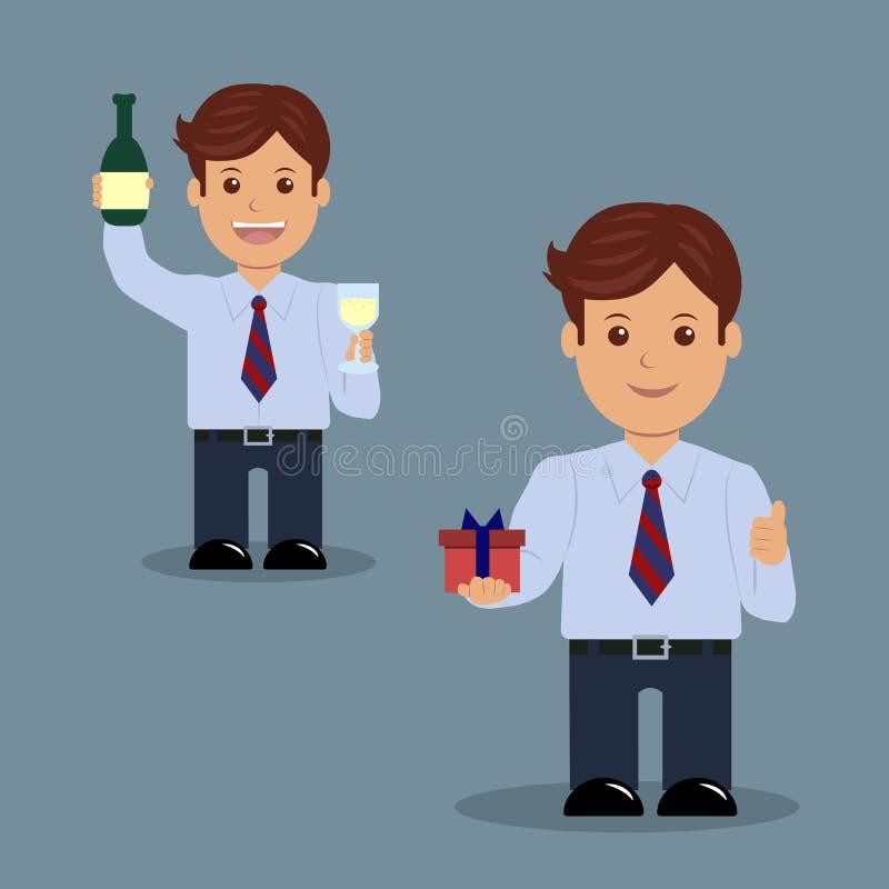 Ensemble d'homme d'affaires avec un verre de champagne et de cadeau illustration libre de droits