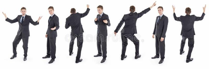 Ensemble d'homme d'affaires heureux d'isolement dans le costume photos libres de droits