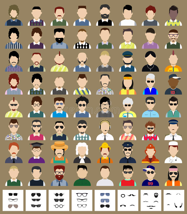 Ensemble d'homme d'avatars illustration libre de droits